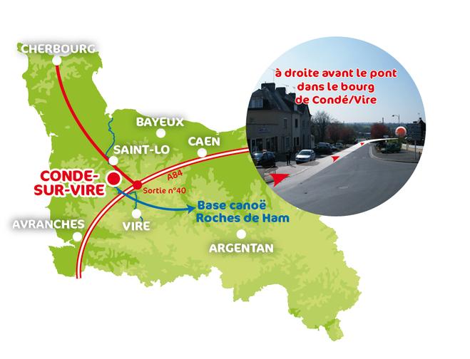 Carte accès Vélorail Condé sur vire
